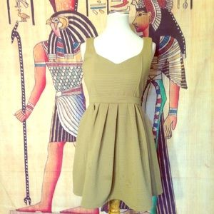 Olive Green Sleeveless Mini Flare Party Dress M